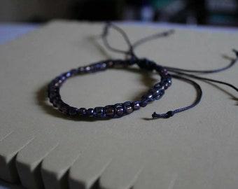 Simple Beaded Macrame Bracelet- Adjustable