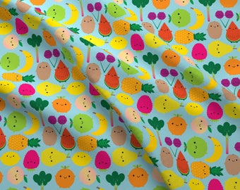 Kawaii Fruit Fabric by the Yard - Fruit Bowl (Blue) By Marcelinesmith - Blue Kawaii Fruit Cotton Fabric By The Yard With Spoonflower