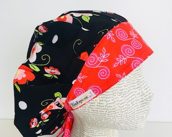 Bouffant Scrub Cap scrub hat with ties with a black material with red pink and green flowers with a coordinating band 2t