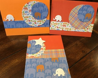 Elephant cards - set of 3