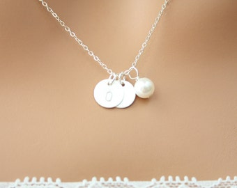 Customized Two Initial Satin Disk with cute Water Pearl Necklace - Sterling Silver. You can make your choice Style, and number of disks