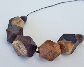 Statement chunky natural wooden bead  geometric bead necklace on waxed cotton cord