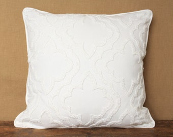 Ivory chenille pillow cover