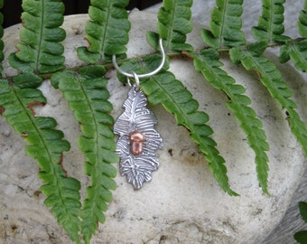 Oak leaf pendant, handmade silver leaf necklace, copper acorn, nature inspired shopping, unusual jewellery, gift for her, unique