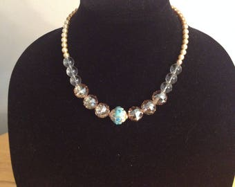 Indian beaded necklace gold and teal.