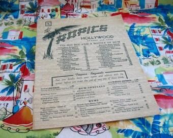 The Tropics Restaurant Menu/Hollywood/Sunset and Vine