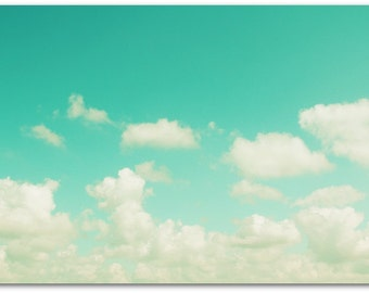 large photography // nursery art // clouds art print - Aqua Skies, 16x24 photograph print