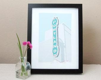 Portland Sign Illustrated Print / Art Print / Wall Decor / Modern Minimalist Illustration / Portland Landmark Art / Portland Oregon Art