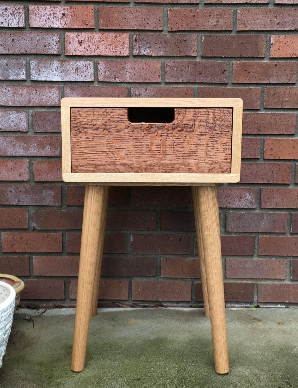 Scandinavian Nightstand Pair Bed Side Table Set Solid Oak in