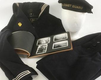 "World War II U.S. Coast Guard Sailor's Uniform & Service Diary Scrapbook with Photos - ""Cracker Jack"" Uniform and Hat"