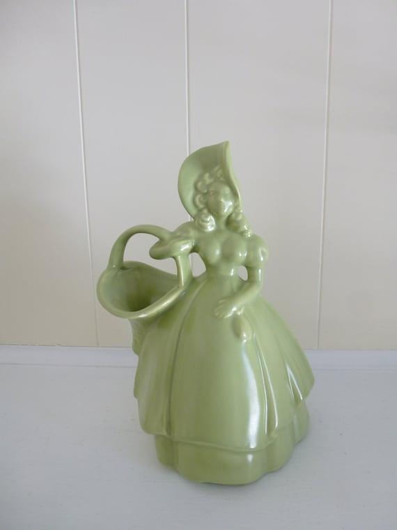 Vintage Royal Haeger Green Pottery Green Woman Haeger Vase