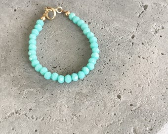 Bright Teal 3mm Crystal Bracelet