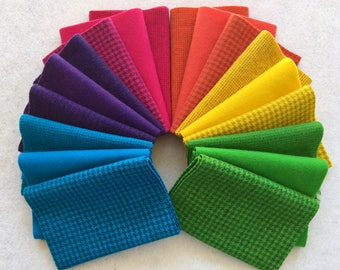 Hand Dyed Felted Wool, BRIGHT Assortment, 18 pieces in Vivid Colors, Perfect for Rug Hooking, Applique and Crafts