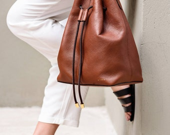 Leather Tote Bag with Drawstring, Brown Leather Bucket Bag, Leather Shoulder Bag, Honey Leather Pouch, Olmo Goods, Honey Tote Bag