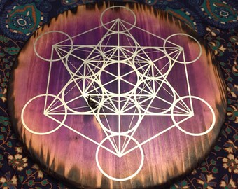"XL 18"" or 24"" dyed wood crystal grid base/altar board/wall mandala, Metatron's cube sacred geometry - Made to Order"