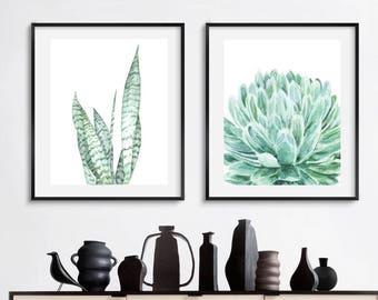Cactus print set, botanical print, set of 2 print, cactus wall art, light green wall art print, printable watercolor, agave print, plant art