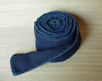 Onbuhimo - wide flat rope for carrying baby on back, vintage Japanese indigo-dyed cotton fabric