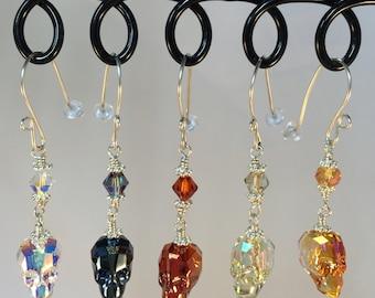 Blue Skull Earrings| Metallic Blue Swarovski Skulls| Blue Skull Dangles| Blue Skull Jewelry|