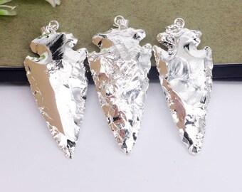 5pcs Full Silver Plated Arrow Shape Jasper Pendant,Nature Druzy Gemstone Arrow Pendant For Jewelry Making