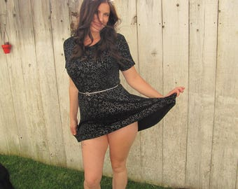 VINTAGE BLACK MINI, Black Mini Dress made by Impressions, Silver Stars and Butterfly Belt, Little Black Dress, Mini Dress With Silver Stars