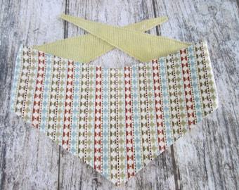 Md-Lg reversible tie on dog bandana - Navajo pattern/sage stripes Kanine Kerchief