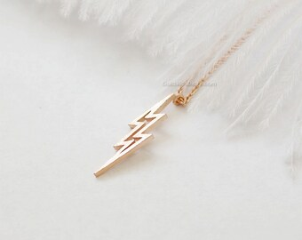lightning bolt necklace in rose gold, thunder bolt necklace, lightning necklace, bolt necklace, dainty, simple, birthday, wedding gifts