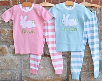 Easter Bunny Monogram Pajamas - Personalized Easter Pajamas - Monogram Easter Pajamas - JULIANNE ORIGINALS