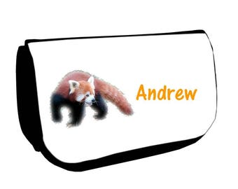 Black Red Panda /crayons make-up case personalized with name