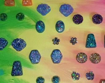 Surprise 3 Pack Earrings Glitter Resin Earring Set/Cute Rainbow Gifts/ Colorful Glitter Resin Earrings/ Random Surprise 3 Earring Sets