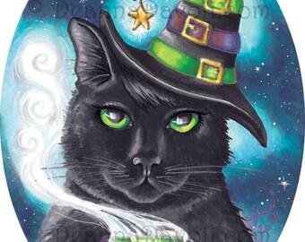 Witch Cat Art Print Black Cat Halloween Art Fishbone Cauldron Kitty Cat Print 10.5x14