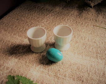 Vintage Egg Cups Set of 2 White Porcelain Fluted Pier One Dining & Serving