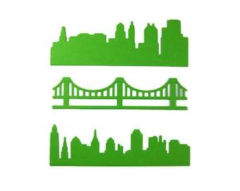 City Skylines and Bridge Die Cut Set of 18 (6 of each design)