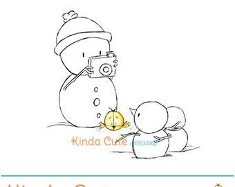 Christmas Digital Stamp. Snowman taking photos (black/white only).