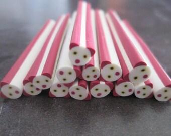 X 1 cane polymer clay panda size 50 x 5 mm