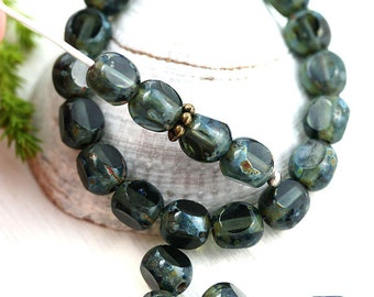 6mm Picasso beads, Olive green Czech glass beads, fire polished, round cut, triange faceted - 30pc - 2861