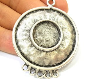Silver Pendant Antique Silver Plated Pendant Blank (50mm) G7832