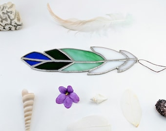 Blue Green and White Stained Glass Feather Suncatcher