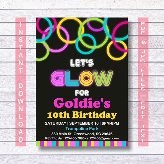 Glow Party Invitations Neon Glow Invitation Template Instant