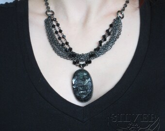 Large Dark Silver Lace-Covered Jewel Pendant on Fancy All-Black Beaded Layered Chain