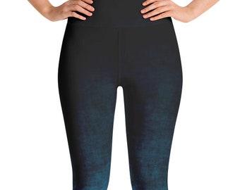 Blue Ombre Leggings High Waist Blue and Black Yoga Pants, Women's Grunge Leggings
