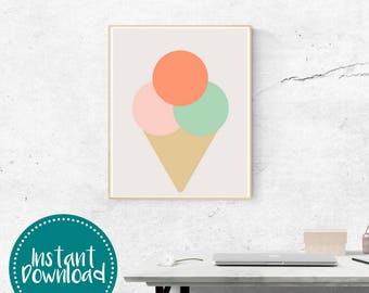 Summer Mint Punch Ice Cream Cone Printable Wall Art