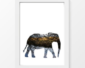 """Destiny / Elephant tree branches black yellow blue printable art wall art home decor downloadable art to print yourself / A4 and 8.5"""" x 11"""""""