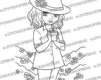 Digital Stamps Seedling Gardening, Digi Download, Girl Coloring Page, Sprout Summer Garden, Floral Flowers, Clip Art, Scrapbooking Supplies