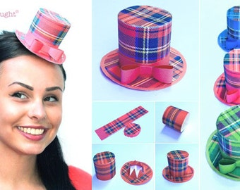 Tartan party hat templates/patterns with an easy no-sew step by step instructions. Including 3 Tartan top hat designs by Happythought.
