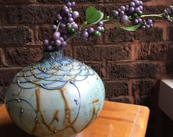 Grean/Blue Round slip trailed vase