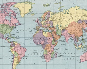 World map digital etsy world map printable digital download 1925 vintage world map old world map art gumiabroncs Gallery