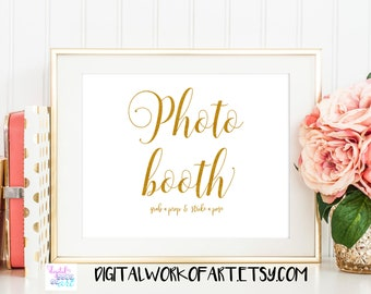 Gold Photo Booth Wedding Sign, Photo Booth Printable, Guestbook Table Printable Sign, Rustic Wedding Grab a Prop Sign, Instant Download, #SG