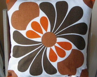 "pillow,case,cover,cushion,flowers,orange,dark brown,caramel,vintage,70's,french,16""x16"""