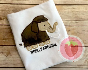 Wooly Awesome, wooly mammoth, embroidered appliqué design shirt