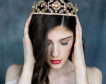 Gold Crystal Tiara, Modern Crown, Renaissance Crown, Bridal Headband, Flower Crown, Medieval Headpiece, Rose Gold Crown, Silver Crown, EVE